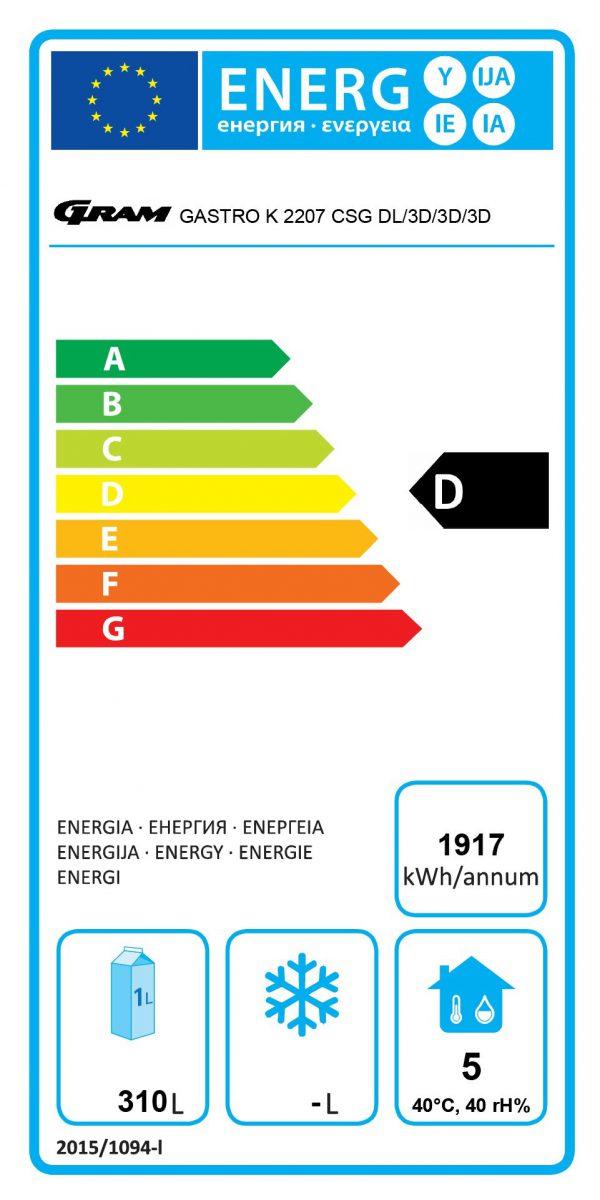 energieklasse D koelwerkbank 2207 dl/3d/3d/3d