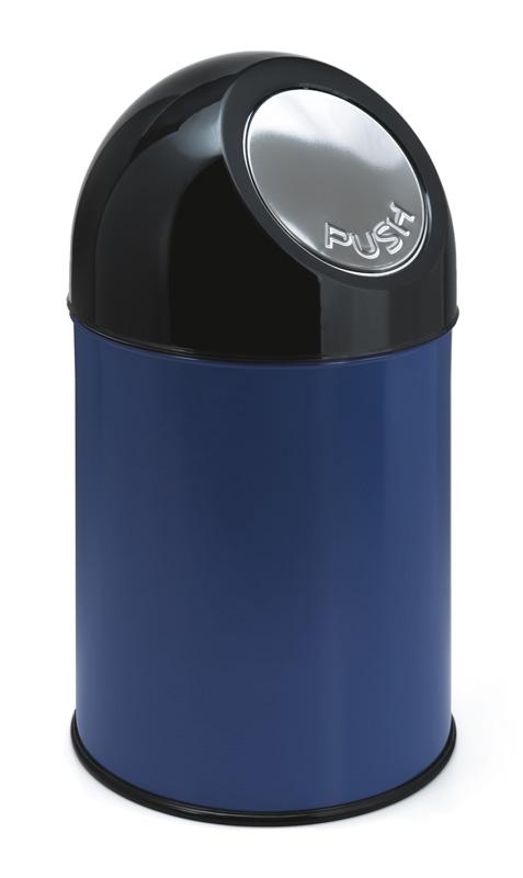 afvalbak pushdeksel blauw zwart 30 liter