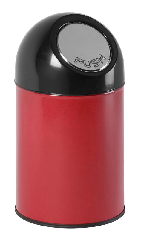 afvalbak pushdeksel rood zwart 30 liter
