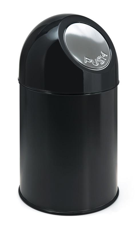 afvalbak pushdeksel zwart 30 liter